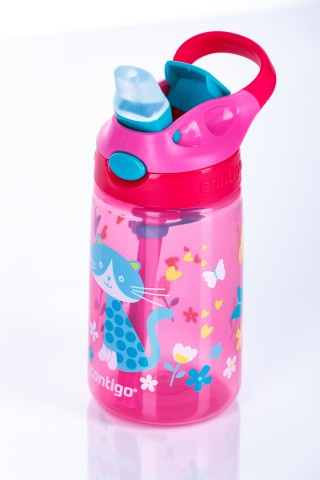 Contigo Gizmo Flip Cherry with Cat Trinkflasche Kinder mit Strohhalm 420ml