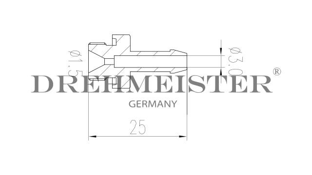 DREHMEISTER Einblasdüse für Valtek T30/Matrix XJ Rail - G1/8'' - D.5mm L=25mm