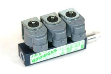 Emmegas JMU rail iniettore 3 cilindri 2 Ohm senza sensore temperatura