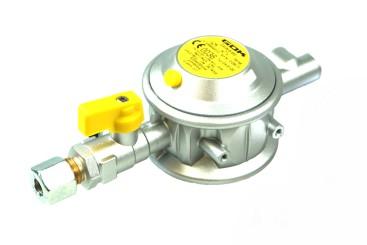 GOK regolatore di bassa pressione 30 mbar 1,5 kg/h 90° 10 mm incl. valvola di non ritorno