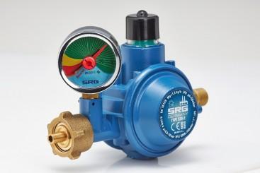 SRG Gasregler (2-stufig) Manometer zur Leckage-Kontrolle mit Restgasanzeige - 1,5kg/h 50mbar - W21.8x1/14-LH (G.12) x G1/4LH-KN