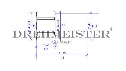 DREHMEISTER Adapter Direktbetankung von Gasflasche G 3/4 UNF auf W21,8 x 1/14 LH - 52mm
