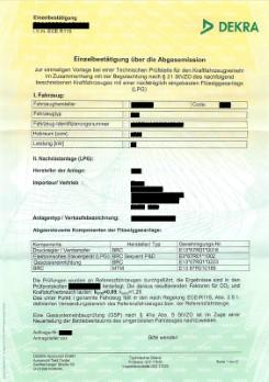 VIALLE Einzel-Abgas-Bestätigung