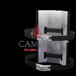 CAMPKO soporte de pared para cilindro de gas Ø 300 + 2 correas de acero inoxidable con tensor